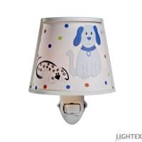 Нощна лампа за контакт DOG E14 синя 100x125x160mm Lightex