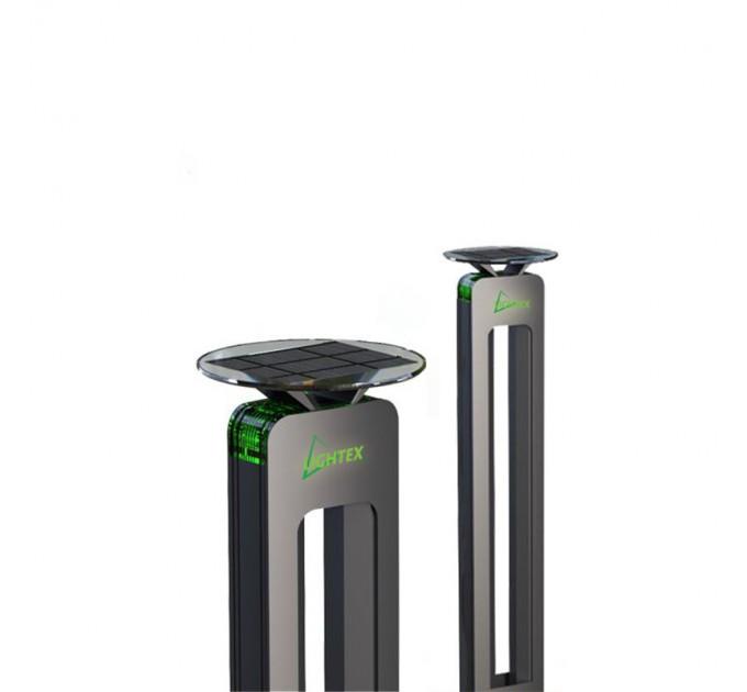 LED соларен светещ стълб 1W зелен +3W бял H60cm IP65 батерия 3.7V 2.6AH Lightex