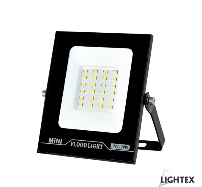 LED прожектор черен  MINI II 220V 20W IP65 CW 6500K Lightex