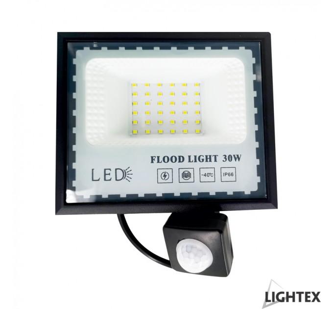 LED прожектор черен със сензор  MINI II 220V 30W IP65 CW 6500K Lightex