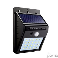 LED соларен аплик 3W 6500K черен със сензор IP55 Lightex