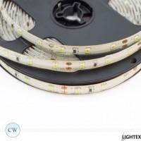 LED лента 3528 60бр/м 12VDC 4.8W/метър IP44 120D студено бял силиконово покритие Lightex- 5м.