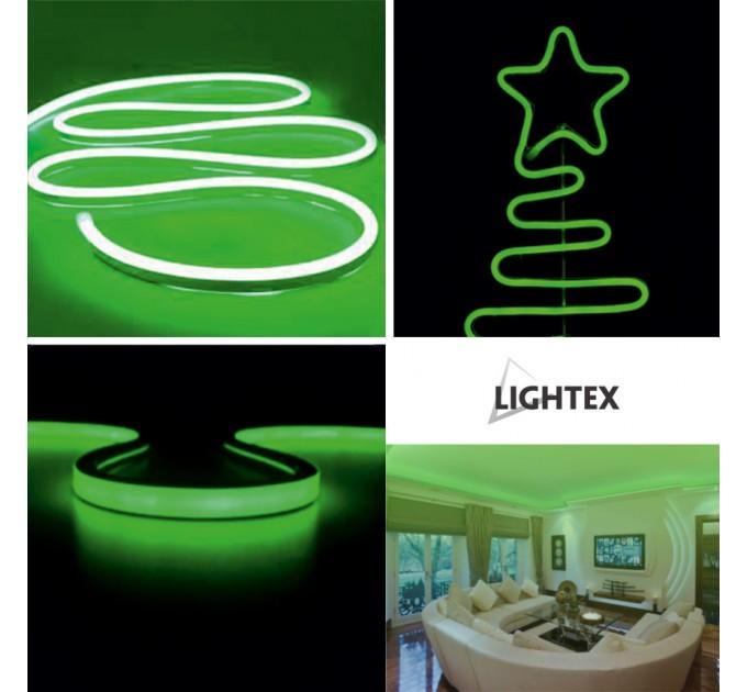 LED Светещ кабел 2835 color 120LED/метър 6W/метър 6x12мм зелен IP65 5м със захранване Lightex