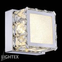 LED Аплик ALICE 8W 4000K 120x120мм стомана+кристал Lightex