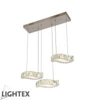 LED полилей BELLA висящ 24W 2700K 680x180x1200мм стомана+кристал Lightex