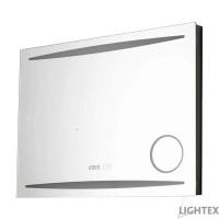 LED огледало за баня 32W 50х70cm 3500K-6500K IP44 с Anti fog, термометър, часовник и увеличително огледало Lightex