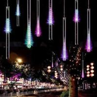 LED дигитални висулки падащ сняг двустранни 8 бр.x 50см RGB 5W 2.8м+5м IP44 220V Lightex