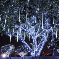 LED висулки падащ сняг двустранни 6 бр.x 50см студено бял 5W 2м+5м IP44 220V Lightex