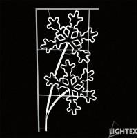 LED Влагозащитена клонка със снежинки  за стълб 504LED 64.4W 75x150см.студено бяла IP65 220V Lightex