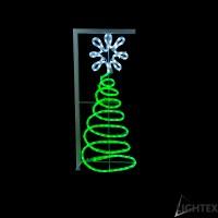 LED Влагозащитена елха за стълб 144LED 13W 70x30см.зелено + студено бяло  IP65 220V Lightex
