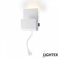 LED аплик с чупещо рамо 4W+3W 3000K+4000K, Touch и USB бял Lightex
