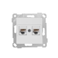 Рита контакт двойна компютърна розетка 2xRJ45 кат.5 механизъм бяла Mutlusan