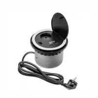 Контакт за вграждане в мебел шуко+ 2 USB 5V 2A  220 3600W,IP20,кабел 1.5 м,сив