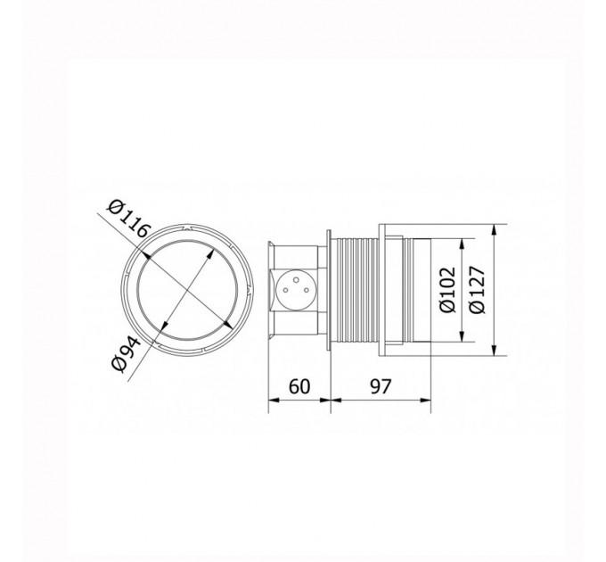 Подвижен Контакт за вграждане в мебел 3 гнезда+2x USB 220-240V AC, 3600W,IP20,кабел 1,5м,алуминий
