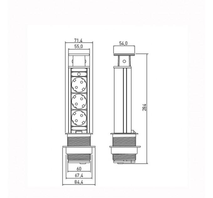 Контакт за вграждане в мебел 3 гнезда 220V AC, 3600W,IP20,кабел 2м,черен