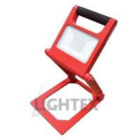 LED Преносим прожектор сгъваем 10W 6000K  240V + зарядно за автомобил 12V корпус червен Lightex