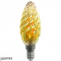 Led лампа FILAMENT 4W 220V E14 C35 шишарка Gold 2200K Lightex