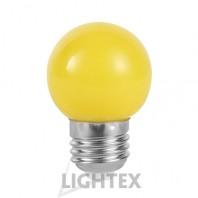 LED лампа  жълта 1W 220V P45 E27  Lightex