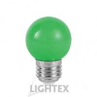 LED лампа  зелена 1W 220V P45 E27  Lightex