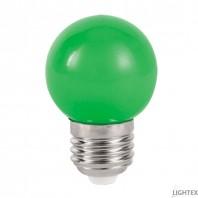 LED лампа  зелена 3W 220V P45 E27  Lightex