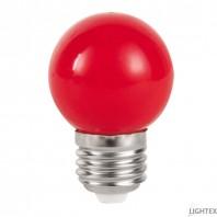 LED лампа  червена 3W 220V P45 E27  Lightex